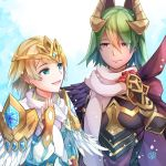 2girls blonde_hair blue_eyes blue_hair breastplate cape closed_mouth crown dark_skin earrings feather_trim fire_emblem fire_emblem_heroes fjorm_(fire_emblem_heroes) gradient_hair green_hair hair_ornament jewelry laegjarn_(fire_emblem_heroes) long_sleeves multicolored_hair multiple_girls nintendo orange_hair parted_lips red_eyes scarf short_hair smile snowing upper_body yukimiyuki