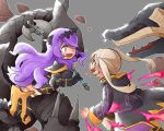 2girls armor axe black_armor blood blood_on_face camilla_(fire_emblem_if) dragon female_my_unit_(fire_emblem:_kakusei) fire_emblem fire_emblem:_kakusei fire_emblem_heroes fire_emblem_if gimurei grey_background holding holding_axe hood hood_down long_hair long_sleeves multiple_girls my_unit_(fire_emblem:_kakusei) nintendo open_mouth purple_hair riding robe shunrai simple_background tiara twintails white_hair