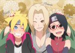 1boy 2girls black_eyes blue_eyes blush boruto:_naruto_next_generations breasts brown_eyes character_name cleavage eeshin_(eishin5584) facial_mark forehead_mark forehead_protector glasses multiple_girls naruto naruto_(series) one_eye_closed tsunade uchiha_sarada uzumaki_boruto