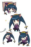 1girl animal_ears bangs black_hair blunt_bangs blush box brown_eyes cardboard_box cat_ears cat_girl cat_tail chibi eyebrows_visible_through_hair full_body hair_ornament hairband in_box in_container long_hair low-tied_long_hair miyata_(lhr) multiple_views queen_tia rockman ryuusei_no_rockman ryuusei_no_rockman_3 sidelocks sitting standing tail white_background
