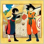 1boy 1girl arena arms_behind_back bangs black_eyes black_hair blue_sky boots building chi-chi_(dragon_ball) chinese_clothes clouds cloudy_sky commentary_request day dougi dragon_ball dragon_ball_(classic) expressionless eyelashes fingernails frame full_body hand_in_hair hand_on_hip happy highres leaning_forward looking_at_another outdoors outside_border ponytail short_hair simple_background sky smile son_gokuu spiky_hair standing wall wristband yellow_background