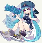 1girl aqua_hair backwards_hat bangs baseball_cap black_footwear black_shorts blue_hair blunt_bangs closed_mouth commentary domino_mask full_body gym_shorts hat holding holding_weapon inkling inkling_(language) invisible_chair legs_up logo long_hair looking_at_viewer maco_spl mask navy_blue_shirt pointy_ears polka_dot polka_dot_shirt shirt short_shorts short_sleeves shorts sitting smile solo splatoon splatoon_(series) splatoon_2 splattershot_jr_(splatoon) straight-laced_footwear t-shirt violet_eyes weapon