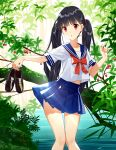 1girl berries black_footwear black_hair blue_skirt commentary eyebrows_visible_through_hair head_tilt holding loafers long_hair looking_at_viewer original pananother parted_lips plant pleated_skirt red_eyes school_uniform serafuku shirt shoes short_sleeves skirt solo standing sunlight twintails very_long_hair water white_shirt
