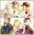 alfyn_(octopath_traveler) animal bag blonde_hair bracelet braid braided_ponytail brown_hair cloak cyrus_(octopath_traveler) dress fur_trim gloves h'aanit_(octopath_traveler) hair_over_one_eye hat hug jewelry linde_(octopath_traveler) long_hair multiple_boys multiple_girls necklace octopath_traveler okii olberic_eisenberg open_mouth ophilia_(octopath_traveler) ponytail primrose_azelhart scar scarf short_hair simple_background single_braid smile snow_leopard therion_(octopath_traveler) tressa_(octopath_traveler) white_hair
