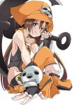 1girl anchor black_gloves brown_eyes brown_hair clenched_teeth eyebrows_visible_through_hair fingerless_gloves gloves guilty_gear hat ixy long_hair looking_at_viewer may_(guilty_gear) orange_hat pirate_hat simple_background sitting skull smile solo teeth white_background
