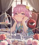 1girl :/ biscuit blush chin_rest collar commentary_request cup curtains eyebrows_visible_through_hair flower food frilled_collar frilled_sleeves frills hairband hands_on_own_cheeks hands_on_own_face head_rest heart highres indoors komeiji_satori long_sleeves looking_at_viewer nose nose_blush pink_eyes pink_flower pink_hair pink_rose pout red_flower red_rose rose sho_shima short_hair sitting solo table tea_set teacup touhou white_flower white_rose wide_sleeves window