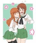 2girls arm_around_waist bangs black_legwear black_neckwear blouse blunt_bangs blush brown_eyes brown_hair closed_eyes closed_mouth commentary cowboy_shot eyebrows_visible_through_hair facing_viewer frown girls_und_panzer green_background green_skirt hug leaning_forward light_blush long_hair long_sleeves looking_at_another miniskirt multiple_girls neckerchief nishizumi_miho ooarai_school_uniform open_mouth orange_eyes orange_hair outside_border pleated_skirt pose school_uniform serafuku short_hair skirt smile standing takebe_saori thigh-highs torinone w white_blouse yuri