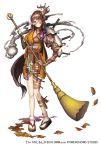 1girl armor asymmetrical_arms autumn_leaves broom brown_hair empty_eyes eyepatch full_body hair_over_one_eye horn jewelry looking_at_viewer monster_girl necklace official_art ofuda pins pointy_ears red_eyes sandals scar simple_background solo standing sweeping tentacle white_background white_footwear yuba_no_shirushi zenmaibook