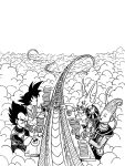 4boys ^_^ armor beerus black_hair chopsticks closed_eyes closed_eyes clouds cloudy_sky commentary_request d: dougi dragon_ball dragon_ball_super dragonball_z eating egyptian_clothes facing_away from_above gloves highres lee_(dragon_garou) male_focus monochrome multiple_boys open_mouth outdoors outstretched_arm plate profile short_hair sitting sky snake_way son_gokuu spiky_hair table vegeta whis