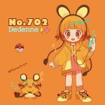 1girl artist_name bangs beamed_eighth_notes blunt_bangs blush character_name creatures_(company) dedenne digital_media_player earphones eighth_note full_body game_freak gen_6_pokemon headphones highres holding holding_tail hood hoodie ipod lightning_bolt listening_to_music long_sleeves looking_at_viewer mameeekueya moemon musical_note nintendo open_mouth orange_(color) orange_background orange_footwear orange_hair orange_hoodie personification poke_ball pokemon pokemon_(creature) pokemon_number red_legwear shoes short_hair simple_background smile standing tail twitter_username whiskers