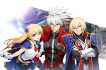 1girl 2boys black_pants blazblue blazblue:_central_fiction blazblue:_chronophantasma blonde_hair breasts crossed_arms elbow_gloves gloves green_eyes hair_ornament heterochromia jacket kisaragi_jin long_hair looking_at_viewer mori_toshimichi multiple_boys noel_vermillion official_art pants ragna_the_bloodedge red_jacket short_hair small_breasts smile white_gloves white_hair