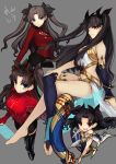 4girls :d asymmetrical_legwear asymmetrical_sleeves barefoot black_bow black_legwear black_skirt blue_eyes blue_legwear blue_shirt blue_sleeves bow brown_hair detached_sleeves fate/grand_order fate_(series) floating_hair grey_background hair_bow hand_on_own_knee highres holding ishtar_(fate/grand_order) jam8686 legs_crossed long_hair long_sleeves looking_at_viewer midriff miniskirt multiple_girls navel navel_cutout open_mouth pleated_skirt red_eyes shirt simple_background single_sleeve single_thighhigh skirt smile stomach thigh-highs tohsaka_rin twintails very_long_hair