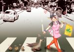 1girl :d abbey_road apron bangs bird bird_wings black_hair black_shirt blonde_hair crosswalk day duck duckling eyebrows_visible_through_hair eyes_visible_through_hair from_side grey_hair ground_vehicle hakumaiya hand_up head_wings highres holding kemono_friends looking_at_another motor_vehicle multicolored_hair open_mouth outdoors outstretched_arm pantyhose parody pink_apron red_eyes red_footwear red_legwear road scarf shirt shoes short_hair short_sleeves sidelocks skirt smile spot-billed_duck_(kemono_friends) the_beatles volkswagen_beetle walking white_skirt wings