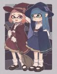 2girls bangs black_footwear blue_bow blue_cape blue_hair blue_skirt blunt_bangs blush_stickers bow broom brown_bow cape closed_mouth collared_shirt domino_mask frown full_body gloves gomi_(kaiwaresan44) green_eyes hand_on_headwear hat hat_bow high-waist_skirt holding holding_broom inkling long_hair long_sleeves looking_at_another mary_janes mask medium_skirt multiple_girls open_mouth outside_border pink_eyes pink_hair pleated_skirt pointy_ears print_cape print_skirt red_cape red_skirt shirt shoes short_hair single_horizontal_stripe skirt smile socks splatoon splatoon_(series) splatoon_2 standing symbol_commentary tentacle_hair white_gloves white_legwear white_shirt witch witch_costume witch_hat