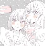 2girls :p blush cellphone commentary_request drink drinking drinking_straw frappuccino hair_ribbon hibike!_euphonium hisaishi_kanade holding holding_phone multiple_girls neckerchief oumae_kumiko phone polka_dot polka_dot_background portrait ribbon sailor_collar school_uniform self_shot serafuku short_hair smartphone spot_color starbucks taking_picture tongue tongue_out