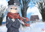 1girl alternate_costume anchor_symbol black_jacket blue_eyes closed_mouth eyebrows_visible_through_hair flat_cap hair_between_eyes hat hibiki_(kantai_collection) house jacket kantai_collection long_hair long_sleeves looking_at_viewer miko_fly silver_hair smile snow tree winter_clothes
