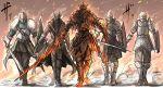 absurdres armor bearer_of_the_curse bloodborne burning chosen_undead dark_souls dark_souls_ii dark_souls_iii demon's_souls full_armor fur_collar hat helmet highres hunter_(bloodborne) kan_(aaaaari35) knight long_coat saw_cleaver shield slayer_of_demons soul_of_cinder souls_(from_software) sword walking weapon