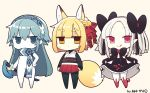 3girls :< :q animal_ears bangs bell black black_bow black_legwear blonde_hair blue_eyes blue_hair blush bow bridal_gauntlets brown_background brown_eyes chibi closed_mouth commentary_request eyebrows_visible_through_hair flower fox_ears fox_girl fox_tail hair_bell hair_between_eyes hair_bow hair_ornament hairband holding holding_sheath japanese_clothes jingle_bell katana kimono long_hair looking_at_viewer multiple_girls obi original pantyhose parted_bangs petals pleated_skirt red_bow red_eyes red_flower red_rose red_skirt rose sash shaded_face sheath sheathed short_eyebrows short_kimono silver_hair simple_background skirt skirt_basket skirt_hold sleeveless sleeveless_kimono smile standing sweat sword tail thick_eyebrows tongue tongue_out very_long_hair weapon white_kimono yuzuki_gao