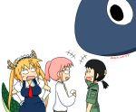+++ amakasu_hisone anger_vein blush fang hisone_to_masotan horns kobayashi-san_chi_no_maidragon kobayashi_(maidragon) maid_dress maid_headdress masotan osuzu_(osuzu3276) ponytail smile tail tooru_(maidragon) translated twintails