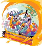 1boy 1girl :0 action artist_name bangs baseball_cap black_eyes blunt_bangs boots closed_mouth commentary_request domino_mask dynamo_roller_(splatoon) fangs foreshortening gloves golden_egg green_eyes green_footwear green_gloves green_hat hat holding holding_weapon inkling inumaru_akagi lifebuoy long_hair long_sleeves looking_at_another looking_at_viewer mask one_eye_closed open_mouth orange_overalls overalls paint_splatter pointy_ears print_hat rope rubber_boots rubber_gloves salmon_run salmonid shirt short_hair smile sparkle splatoon splatoon_(series) splatoon_2 sploosh-o-matic_(splatoon) standing tentacle_hair v-shaped_eyebrows weapon white_shirt