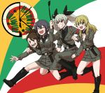4girls :d amaretto_(girls_und_panzer) anchovy anzio_(emblem) anzio_military_uniform arm_around_neck asymmetrical_bangs bangs belt black_belt black_footwear black_hair black_neckwear black_ribbon black_shirt blonde_hair boots braid brown_eyes brown_hair carpaccio clenched_hand clenched_hands commentary_request dress_shirt drill_hair emblem eyebrows_visible_through_hair flag_background frown girls_und_panzer green_eyes green_hair grey_jacket grey_pants grey_skirt grin hair_ribbon holding italian_flag jacket jumping knee_boots knife leg_up long_hair long_sleeves looking_to_the_side military military_uniform miniskirt multiple_girls necktie open_mouth pants partial_commentary pencil_skirt pepperoni_(girls_und_panzer) red_eyes ribbon riding_crop running sam_browne_belt shirt short_hair side_braid skirt smile standing standing_on_one_leg sweatdrop torinone twin_drills twintails uniform