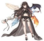 1girl asymmetrical_wings bangs bare_legs bat_wings black_choker black_cloak black_footwear black_hair black_panties black_ribbon brown_eyes character_request choker commentary_request copyright_request energy_ball eyebrows_visible_through_hair feathered_wings fiery_wings glasses grin hair_between_eyes hand_up holding holding_scepter ice ice_wings korean_commentary long_hair long_sleeves looking_at_viewer midriff navel open_cloak open_clothes panties ribbon round_eyewear scepter shan shoes simple_background smile solo stomach thighs underwear very_long_hair white_background white_wings wide_sleeves wings