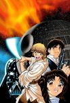 1girl 3boys 90s adam_warren blonde_hair blue_eyes brown_eyes brown_hair collaboration cover cyborg darth_vader death_star energy_gun energy_sword eyebrows fighting_stance fire han_solo helmet joewight lightsaber lips looking_at_viewer luke_skywalker motion_blur multiple_boys official_art oldschool princess_leia_organa_solo promotional_art ray_gun scan science_fiction shiny smirk space star star_wars star_wars_manga starry_background sword vest weapon