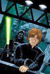 90s adam_warren at-at blonde_hair cape collaboration commentary cover cuffs cyborg darth_vader endor energy_cannon energy_sword english_commentary eyebrows forest gloves hallway handcuffs helmet jedi jedi_knight joewight lightsaber luke_skywalker mecha nature night official_art oldschool prisoner promotional_art science_fiction sith spoilers star_wars star_wars_manga sword walker weapon window