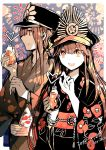 1boy 1girl :d brother_and_sister brown_eyes brown_hair crazy_straw dated drinking_straw eyebrows_visible_through_hair fate_(series) fireworks floral_print hat highres holding japanese_clothes kimono limited_palette long_hair looking_at_viewer obi oda_nobukatsu_(fate/grand_order) oda_nobunaga_(fate) open_mouth peaked_cap rioka_(southern_blue_sky) sash siblings smile twitter_username