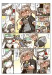 >_< 3girls blush bow cape chibi coat comic crown dark_skin detached_sleeves glasses gloves green_eyes grey_hair hair_between_eyes hair_bow hands_on_another's_shoulder haruna_(kantai_collection) hat headgear highres hisahiko holding_crown japanese_clothes juliet_sleeves kantai_collection long_sleeves medal multiple_girls musashi_(kantai_collection) nontraditional_miko open_mouth outstretched_arms pantyhose pleated_skirt puffy_sleeves red_eyes remodel_(kantai_collection) shinkaisei-kan sidelocks skirt smile tearing_up tentacle translation_request twintails unitard vest wide_sleeves wo-class_aircraft_carrier