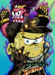 2boys absurdres belt black_hair black_hat hat highres immortalzy jojo_no_kimyou_na_bouken jojo_pose kuujou_joutarou multicolored multicolored_background multiple_belts multiple_boys patrick_star pointing pointing_at_viewer pose purple_hair spongebob_squarepants spongebob_squarepants_(character) stand_(jojo) star_platinum