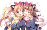2girls :d ^_^ animal_ears black_skirt blazer blue_cardigan blue_eyes blush bow bowtie brown_hair cat_ears churro closed_eyes closed_eyes commentary_request fang food hair_bow holding holding_food jacket long_hair long_sleeves looking_at_viewer multiple_girls open_mouth orange_hair original pan_(mimi) paw_pose pink_scarf pleated_skirt polka_dot polka_dot_scarf red_bow red_neckwear scarf school_uniform skirt smile striped striped_bow striped_neckwear striped_scarf twintails two_side_up yellow_cardigan yellow_scarf