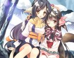 2girls :d animal_ears arm_up bangs black_hair blush bow braid breasts brown_capelet brown_eyes brown_hair commentary_request day eyebrows_visible_through_hair hair_between_eyes hair_bow hair_ribbon hand_on_another's_head hands_on_lap head_tilt japanese_clothes kimono kuon_(utawareru_mono) long_hair long_sleeves looking_at_viewer low-tied_long_hair medium_breasts multiple_girls obi one_eye_closed open_mouth orange_bow orange_ribbon outdoors parted_lips pink_bow red_eyes ribbon rurutie_(utawareru_mono) sash side_braids sitting sleeves_past_fingers sleeves_past_wrists smile snow snow_on_head tail tail_raised tree twin_braids utawareru_mono utawareru_mono:_itsuwari_no_kamen very_long_hair white_kimono wide_sleeves youta
