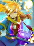 1boy blonde_hair blue_eyes camelot_(company) cape gloves golden_sun konpei looking_at_viewer male_focus nintendo punching robin_(golden_sun) scarf short_hair simple_background smile solo super_smash_bros. super_smash_bros._ultimate