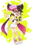 +_+ 1girl aori_(splatoon) apron black_bra black_hair bra breasts cleavage cup domino_mask drinking_straw fangs food food_on_head heart highres holding holding_cup mask mole mole_under_eye object_on_head okome_2g2g orange_eyes pointy_ears purple_hair solo splatoon splatoon_(series) splatoon_1 sushi suspenders tentacle_hair underwear waving