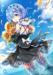 1girl black_sleeves blue_eyes blue_hair blue_sky bouquet bow clouds cowboy_shot day detached_sleeves dutch_angle flower frilled_skirt frills from_behind garters grey_legwear hair_flower hair_ornament hair_over_one_eye hair_ribbon head_wreath highres holding holding_bouquet looking_at_viewer medium_skirt outdoors pink_ribbon re:zero_kara_hajimeru_isekai_seikatsu rem_(re:zero) rewolf ribbon shiny shiny_hair short_hair skirt sky solo standing sunflower thigh-highs white_bow white_flower white_skirt x_hair_ornament yellow_flower