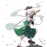 1girl arms_up black_ribbon bobby_socks brown_footwear cherry_blossoms fighting_stance green_eyes green_skirt green_vest hair_ribbon highres holding holding_sword holding_weapon katana konpaku_youmu konpaku_youmu_(ghost) nunupon0514 open_clothes open_vest puffy_short_sleeves puffy_sleeves ribbon shirt shoes short_hair short_sleeves silver_hair simple_background skirt skirt_set socks solo standing sword torn_clothes torn_sleeves touhou vest weapon white_background white_legwear white_shirt