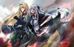 2girls ak-12_(girls_frontline) an-94 an-94_(girls_frontline) assault_rifle bangs blonde_hair blood blood_on_face bloody_clothes blue_eyes braid breasts broken_mask cape closed_mouth cocoka commentary cuts eyebrows_visible_through_hair french_braid girls_frontline gloves glowing glowing_eye gun hairband highres holding holding_gun holding_knife holding_weapon injury jacket knife long_hair long_sleeves looking_to_the_side mask medium_breasts midriff multiple_girls navel ribbon rifle robot sidelocks silver_hair simple_background torn_clothes very_long_hair violet_eyes weapon