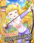 archer blonde_hair blush bow_and_arrow character_name closed_eyes idolmaster idolmaster_cinderella_girls long_hair mary_cochran shirt smile stars