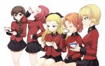 5girls assam bangs black_skirt blonde_hair blue_eyes braid brown_eyes brown_hair closed_eyes closed_mouth cup darjeeling drinking_glass epaulettes from_side girls_und_panzer hair_ornament hair_over_shoulder hair_pulled_back hair_ribbon hairclip hand_on_hip holding holding_saucer jacket kasai_shin light_frown long_hair long_sleeves looking_at_viewer looking_away military military_uniform miniskirt multiple_girls orange_hair orange_pekoe parted_bangs pleated_skirt red_jacket redhead ribbon rosehip rukuriri saucer short_hair simple_background single_braid sitting skirt smile st._gloriana's_military_uniform standing teacup tied_hair twin_braids uniform white_background