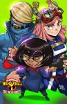 1boy 2girls best_jeanist black_hair blonde_hair boku_no_hero_academia buckle covered_mouth crossover denim edna_mode goggles goggles_on_head hatsume_mei highres marcusthevisual multiple_girls pink_hair round_eyewear symbol-shaped_pupils the_incredibles u.a._gym_uniform yellow_eyes