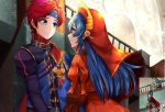 2boys 2girls arms_up axe blue_eyes blue_hair cape couple dress eye_contact fire_emblem fire_emblem:_fuuin_no_tsurugi green_hair headband hector_(fire_emblem) holding holding_axe lilina long_hair looking_at_another lyndis_(fire_emblem) multiple_boys multiple_girls nintendo nyanshua ponytail red_cape red_dress red_hood redhead roy_(fire_emblem) smile standing upper_body very_long_hair