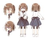 1girl :d ^_^ ayanepuna bangs black_ribbon blue_skirt blush brown_hair closed_eyes closed_eyes closed_mouth collared_shirt drawing_tablet eyebrows_visible_through_hair flying_sweatdrops grey_shorts hair_between_eyes hair_ribbon holding_stylus long_sleeves multiple_views neck_ribbon no_shoes open_mouth original ribbon shirt shorts simple_background sketch skirt smile socks standing tablet turnaround twintails white_background white_legwear white_shirt