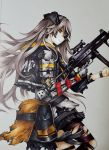 bangs brown_eyes brown_hair cowboy_shot from_side girls_frontline gloves gun h&k_ump h&k_ump45 hair_over_face heckler_&_koch highres holding holding_gun holding_weapon hood hooded_jacket jacket lave2600 long_hair looking_at_viewer mechanical_arm medium_request messy_hair mod3_(girls_frontline) pouch profile single_glove standing submachine_gun torn_clothes torn_legwear traditional_media trigger_discipline ump45_(girls_frontline) vertical_foregrip weapon