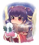 1girl dragon_wings fire_emblem fire_emblem:_seima_no_kouseki highres mamkute mittens multi-tied_hair myrrh nakabayashi_zun nintendo pink_mittens purple_hair red_eyes scarf solo twintails wings