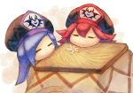 2girls beret blue_hair closed_eyes flamberge_(kirby) flower francisca_(kirby) hat insignia kirby:_star_allies kirby_(series) kotatsu long_hair multiple_girls nintendo redhead resting shiburingaru short_hair sketch smile table