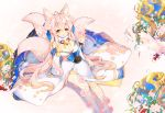 1girl :d animal_ear_fluff animal_ears argyle_cutout asymmetrical_legwear bangs bell blue_ribbon blush breasts bridal_gauntlets brown_eyes cleavage eyebrows_visible_through_hair flower fox_ears fox_girl fox_tail fur_collar hair_between_eyes hair_flower hair_ornament hair_ribbon hand_up japanese_clothes jingle_bell kimono kneehighs long_hair long_sleeves looking_at_viewer medium_breasts open_mouth original pink_flower pink_hair pink_rose ribbon rose single_kneehigh single_thighhigh sitting smile solo tail thigh-highs tp_(kido_94) very_long_hair white_kimono white_legwear wide_sleeves