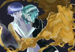 2others androgynous aqua_hair bangs blue_eyes blue_hair blunt_bangs crystal_hair dual_persona eyebrows_visible_through_hair eyes_visible_through_hair gem_uniform_(houseki_no_kuni) glowing glowing_eye gold golden_arms green_hair gyu_nba32 height_difference heterochromia houseki_no_kuni looking_at_viewer multiple_others necktie phosphophyllite phosphophyllite_(ll) see-through_sleeves short_hair smile sparkle spoilers white_eyes white_skin