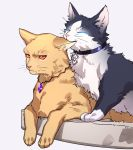 animal animal_focus animalization biting cat closed_eyes closed_mouth collar commentary_request ear_biting fate/grand_order fate_(series) fujimaru_ritsuka_(male) gem gilgamesh gilgamesh_(caster)_(fate) highres lying no_humans on_stomach paws red_eyes tenobe whiskers