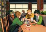 2girls 3boys :d alternate_hairstyle asui_tsuyu bakugou_katsuki blonde_hair boku_no_hero_academia brown_hair cake chair closed_eyes cup food green_eyes green_hair hair_rings hood hood_down hoodie long_hair messy_hair midoriya_izuku multiple_boys multiple_girls ojiro_mashirao open_mouth plant pleated_skirt potted_plant short_hair sidelocks sitting skirt smile spiky_hair spoon table tamomoko uraraka_ochako